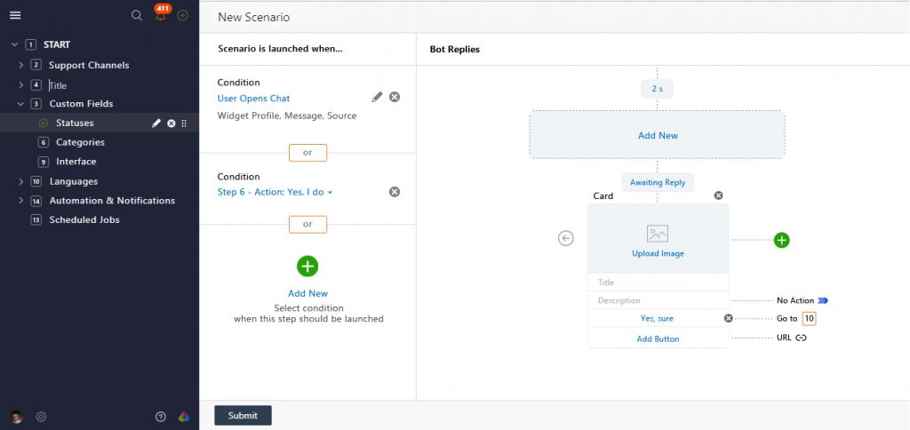 creating chatbot customer service scenario