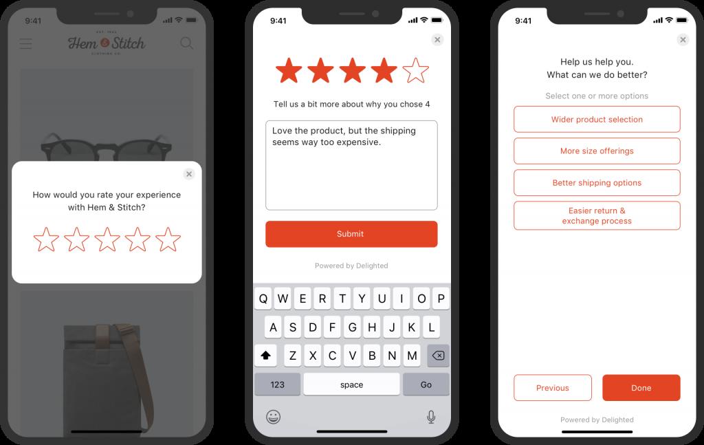 In-app feedback form