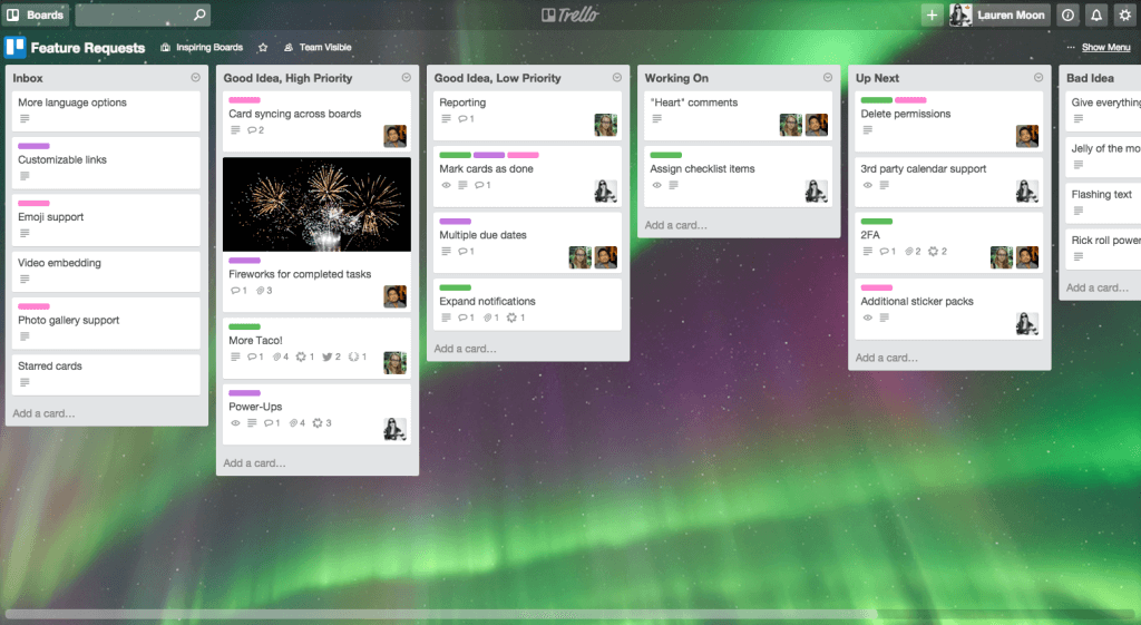 Feature requests management in Trello