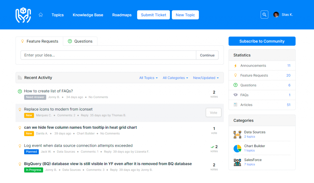 Feature Request Tracking Portal by UseResponse